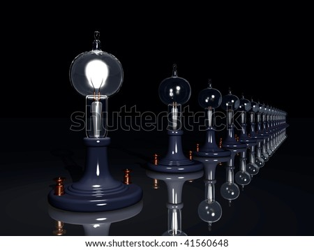 Vintage light bulb illustration. Thomas Edison's light bulb lined up on a black background. a hundred lights but only one burns bright. Metaphor - stock photo