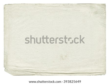 Vintage light paper blank with torn edges isolated on white background. Old texture.  - stock photo