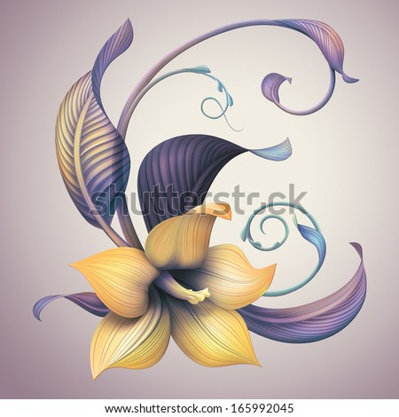 vintage lily flower illustration - stock photo