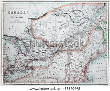 Vintage line colored map of America & Canada, printed in 1860. - stock photo