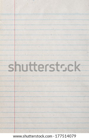 Vintage lined paper or notebook paper texture with left margin - stock photo