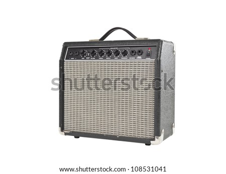 Vintage little grungy guitar amplifier with clipping path. - stock photo
