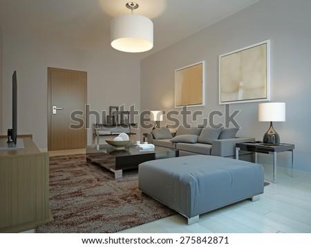 Vintage living room design. 3d render - stock photo