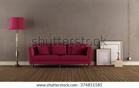 Vintage Living room with classic sofa and lamp - 3D Rendering - stock photo