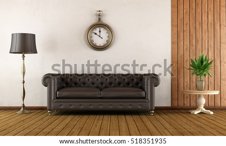 Vintage living room with classic sofa,wood paneling and white wall - 3d Rendering
