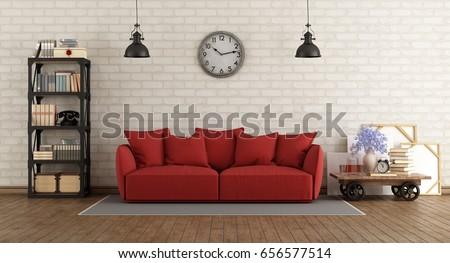 Vintage Living Room Red Sofa Retro Stock Illustration 656577514 ...