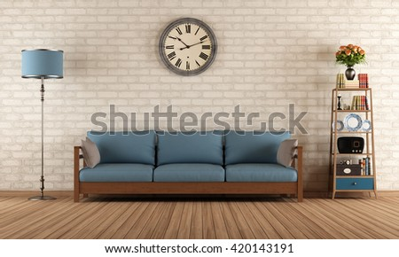 Vintage living room with wooden sofa  - 3d rendering