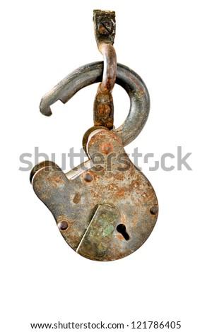 vintage lock isolate on white background - stock photo