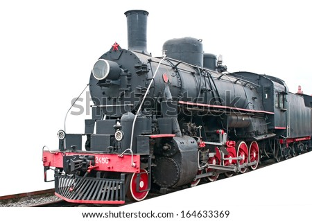 Vintage locomotive on white - stock photo