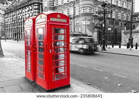 Vintage London telephone booth  - stock photo