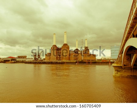 Vintage look Battersea Power Station in London England UK