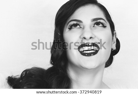 vintage look beautiful young  lady,toned picture - stock photo