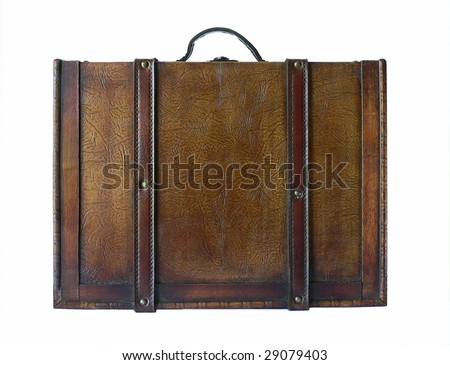 Vintage look decorative leather-bound suitcase isolated on white - stock photo