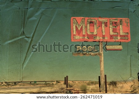 Vintage look of an old motel sign on an interstate in the American southwest. - stock photo