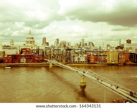 Vintage look Saint Paul's Cathedral in the City of London, UK - stock photo