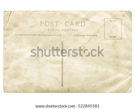 Vintage looking A blank postcard useful as a background - isolated over white background