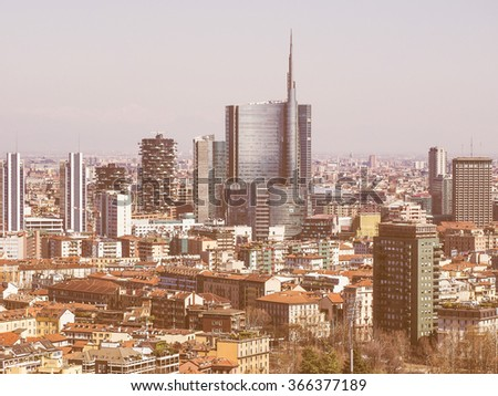 Vintage looking Aerial view of the city of Milan - stock photo