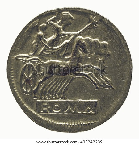 Vintage looking Ancient Roman coin isolated over white background