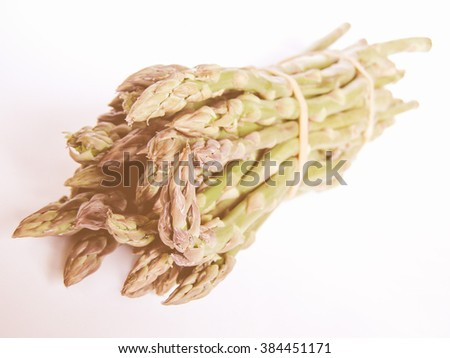 Vintage looking Asparagus isolated over white background