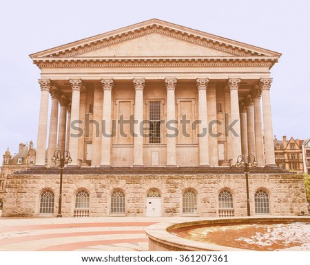 Vintage looking Birmingham Town Hall concert hall venue built in 1834 in Victoria Square, Birmingham, England, UK - stock photo