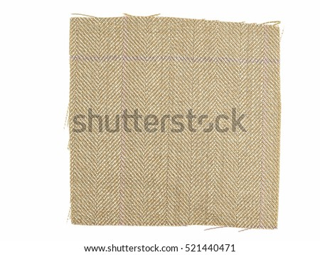 Vintage looking Brown fabric swatch over white background