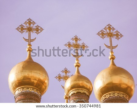 Vintage looking Cathedral of the Dormition Russian Orthodox church dedicated to the Dormition of the Theotokos in Moscow Russia