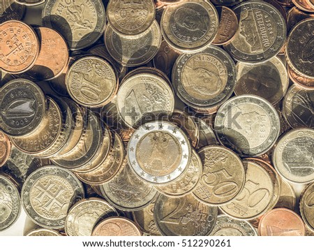 Vintage looking Euro coins - currency of the European Union