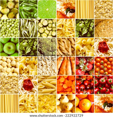 Vintage looking Food collage including pictures of vegetables, fruit, pasta and more - stock photo