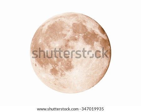 Vintage looking Full moon seen with a telescope from northern emisphere at night isolated over white background - stock photo