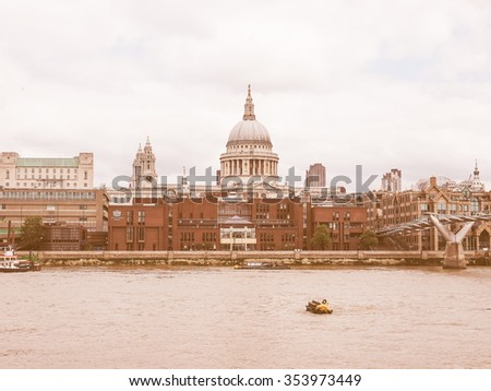 Vintage looking Panoramic view of Thames River in London, UK