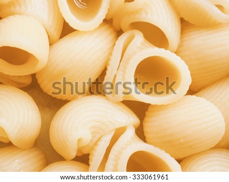 Vintage looking Snails macaroni pasta traditional mediterranean food from Italy - stock photo