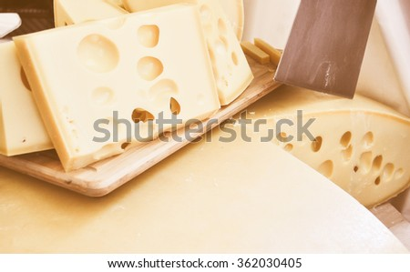 Vintage looking Traditional handmade cheese fine food from Europe