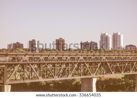 Vintage looking View of the city centre of Egmonton in Canada - stock photo