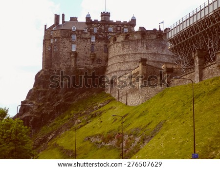 Vintage looking View of the city of Edinburgh in Scotland UK - stock photo