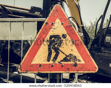 Vintage looking Warning signs, Road works traffic sign