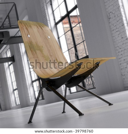 Vintage lounge recliner in converted industrial loft (3D render) - stock photo