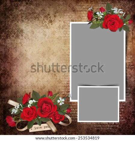 Vintage love background with frames and roses - stock photo