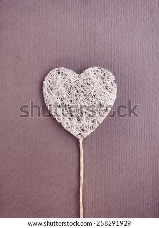 Vintage love heart purple paper card. Thank You, Valentine's Day or Mother's Day gift card design. May be used for a stylish wedding graphic art or party invitation. - stock photo