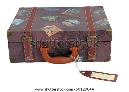 vintage luggage bag that has been isolated on white - stock photo
