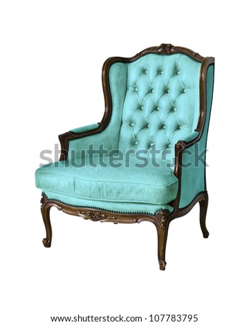 vintage luxury armchair isolated with clipping path - stock photo