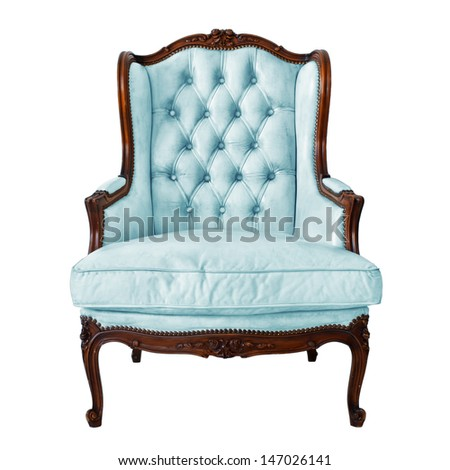 Vintage luxury Blue Armchair isolated on white background - stock photo