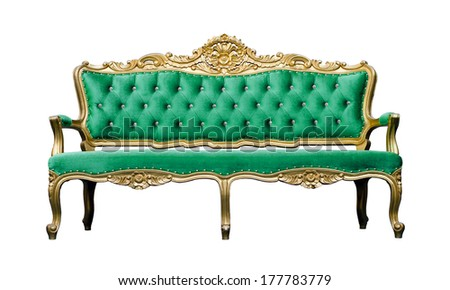 Vintage luxury emerald sofa Armchair isolated on white background