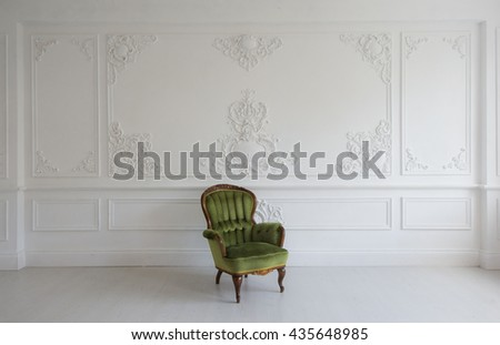 stucco furniture living room antique stylish green armchair stock photo 435649009