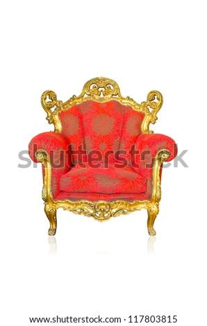 Vintage luxury Red sofa Armchair isolated on white background