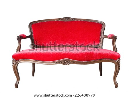 vintage luxury red sofa isolated on white background