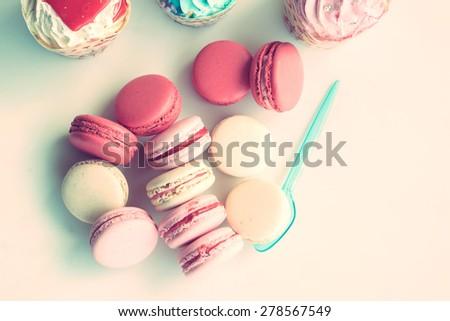vintage macarons - stock photo