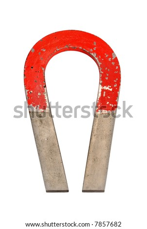 Vintage magnet with clipping path - stock photo