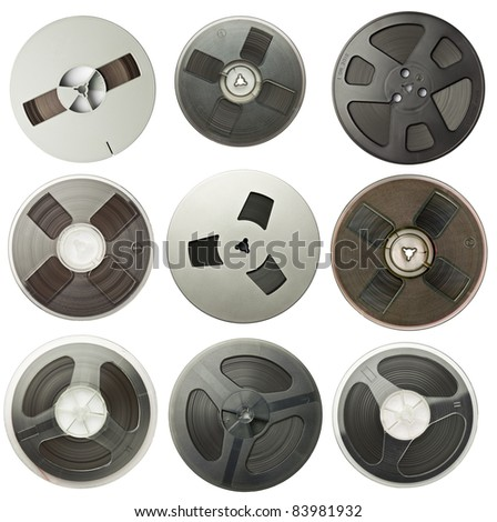 Vintage magnetic audio reels collection. - stock photo