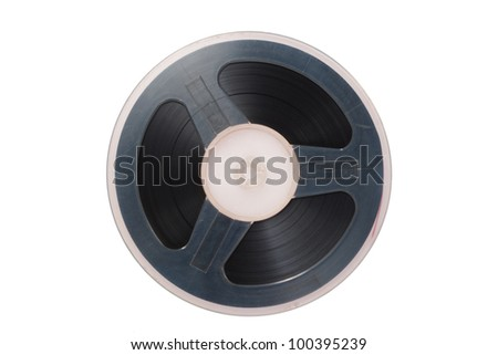 Vintage magnetic audio tape reel isolated
