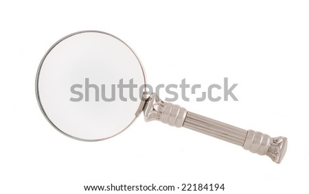 vintage magnifier isolated on white - stock photo